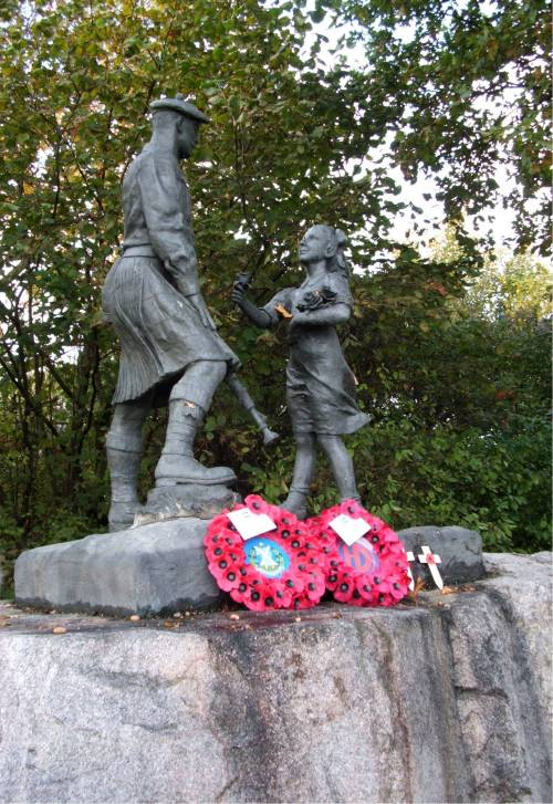 Wreaths laid at the Highland Division memorial at Schijndel, Holland, October 2009. The 65th anniversary of Liberation.