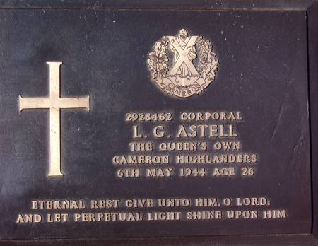 2928462 Corporal L. G. Astell, 1st battalion Queens Own Cameron Highlanders, 6th May 1944, age 26