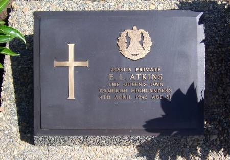 2938115 Private E. L. Atkins,  1st battalion Queens Own Cameron Highlanders, age 31
