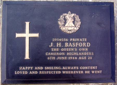 2934536 J. H. Basford, 1st battalion Queens Own Cameron Highlanders, 6th June 1944, age 28