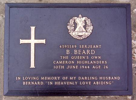 4393389 Sergeant B. Beard, 1st battalion Queens Own Cameron Highlanders, 10th June 1944, age 26