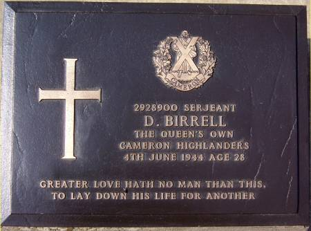 2928900 Sergeant D. Birrell, 1st battalion Queens Own Cameron Highlanders, 4th June 1944, age 28