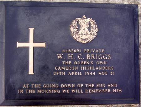 4462691 Private W. H. C. Briggs, 1st battalion Queens Own Cameron Highlanders, 29th April 1944, age 31