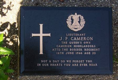 362869 Lieutenant J. F. Cameron.  1st battalion Queens Own Cameron Highlanders, attached to The Border Regiment, age 20 Rangon cemetery
