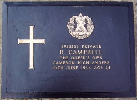 2933357 Private R. Campbell, 1st battalion Queens Own Cameron Highlanders, age 24