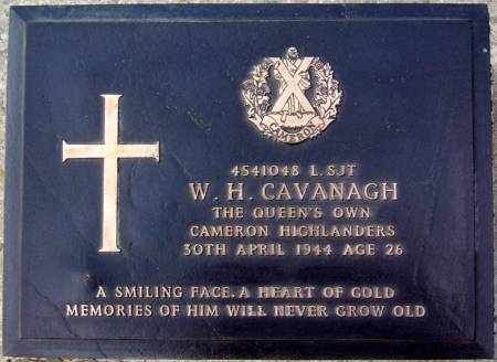 4541048 Lance-Sergeant W. H. Cavanagh, 1st battalion Queens Own Cameron Highlanders, 30th April 1944, age 26