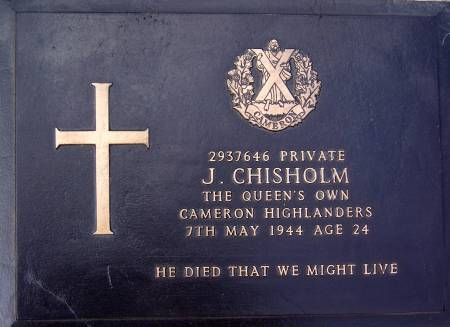 2937646 Private J. Chisholm, 1st battalion Queens Own Cameron Highlanders, 7th May 1944, age 24