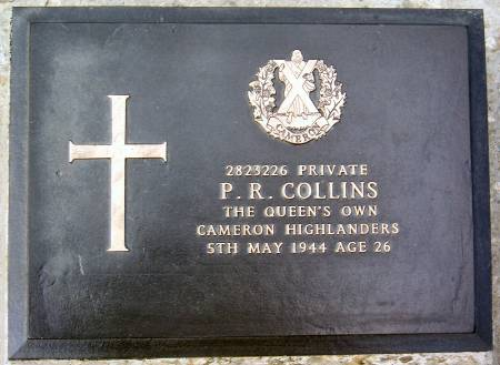 2823226 P. R. Collins, 1st battalion Queens Own Cameron Highlanders, 5th May 1944, age 26