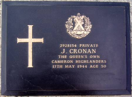 2928134 Private J. Cronan, 1st battalion Queens Own Cameron Highlanders, 17th May 1944, age 30