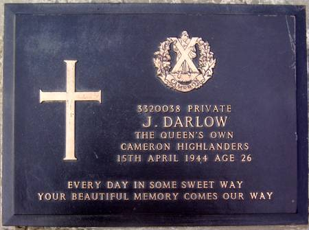 3320038 Private J. Darlow, 1st battalion Queens Own Cameron Highlanders, 15th April 1944, age 26