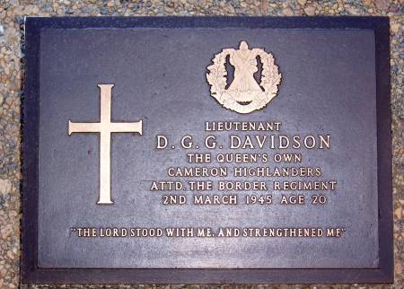 331619 Lieutenant D. G. G. Davidson, Queens Own Cameron Highlanders, attached to The Border Regiment. age 20