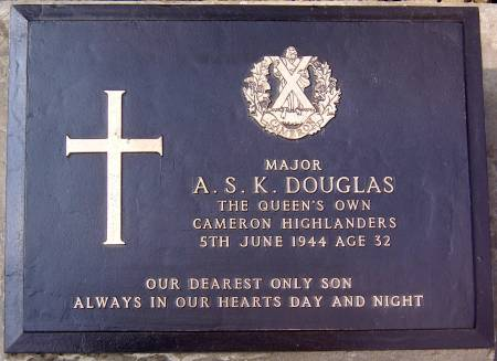 50976 Major A. S. K. Douglas, 1st battalion Queens Own Cameron Highlanders, 5th June 1944, age 32