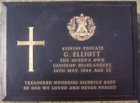 4538559 Private G. Elliott, 1st battalion Queens Own Cameron Highlanders, 14th May 1944, age 23
