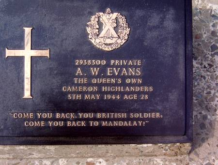 2938300 Private A. W. Evans, 1st battalion Queens Own Cameron Highlanders, 5th May 1944, age28