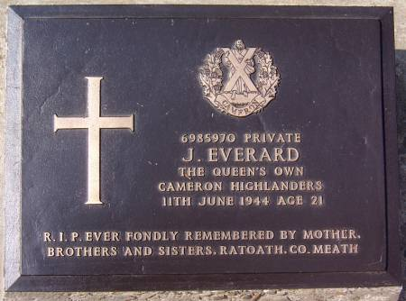 6985970 Private J. Everard, 1st battalion Queens Own Cameron Highlanders, 11th June 1944, age 21