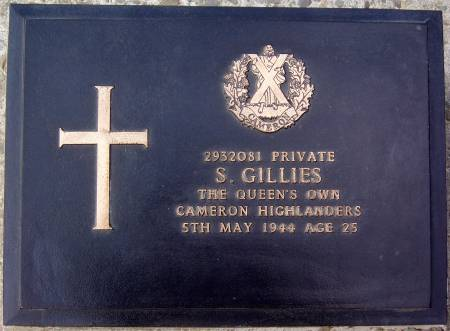 2932081 Private S. Gillies, 1st battalion Queens Own Cameron Highlanders, 5th May 1944, age 25