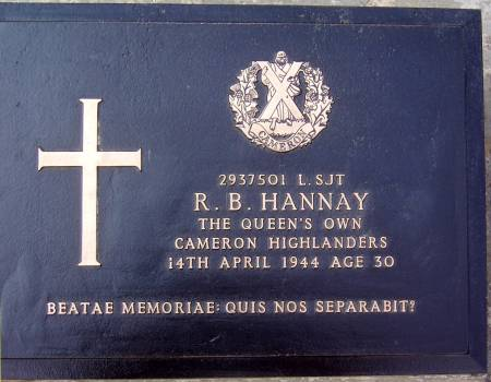 2937501 Lance-Sergeant R. B. Hannay, 1st battalion Queens Own Cameron Highlanders, 14th April 1944, age 30