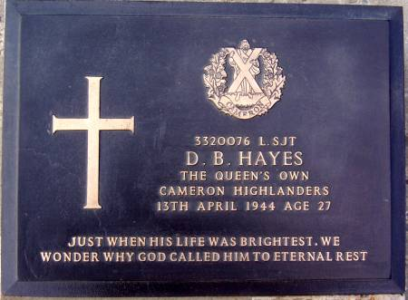 3320076 Lance-Sergeant D. B. Hayes, 1st battalion Queens Own Cameron Highlanders, 13th April 1944, age 27