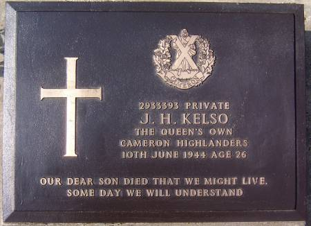 2933393 Private J. H. Kelso, 1st battalion Queens Own Cameron Highlanders, 10th June 1944, age 26