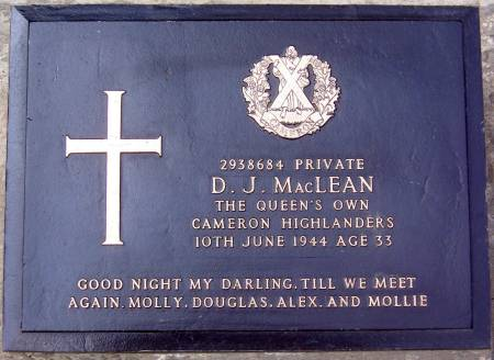 2938684 Private D. J. MacLean, 1st battalion Queens Own Cameron Highlanders, 10th June 1944, age 33