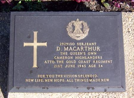 2929130 Sergeant D. Macarthur, Queens Own Cameron Highlanders, attached to The Gold Coast regiment, age 34