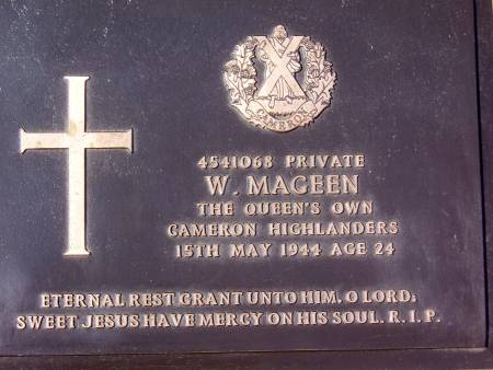 4541068 Private W. Mageen, 1st battalion Queens Own Cameron Highlanders, 15th May 1944, age 24