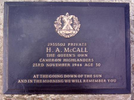 2935502 Private H. A. McCall, 1st battalion Queens Own Cameron Highlanders, 23rd November 1944, age 30