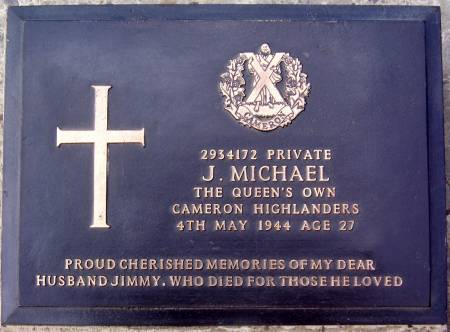 2934172 Private J. Michael, 1st battalion Queens Own Cameron Highlanders, 4th may 1944, age 27