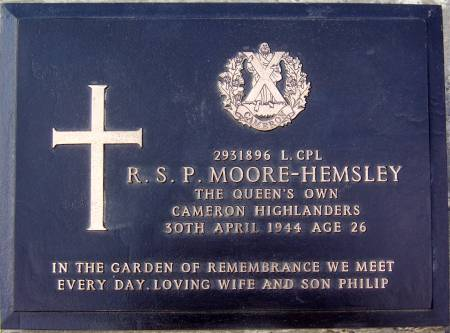 2931896 Lance-Corporal R. S. P. Moore-Hemsley, 1st battalion Queens Own Cameron Highlanders, 30th April 1944, age 26