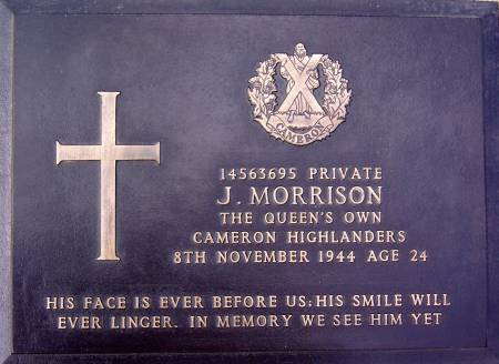 14563695 Private J. Morrison, 1st battalion Queens Own Cameron Highlanders, 8th November 1944, age 24