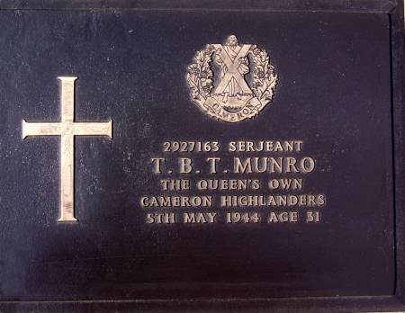 2927163 Sergeant T. B. T. Munro, 1st battalion Queens Own Cameron Highlanders, 5th May 1944, age 31