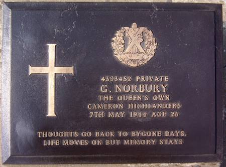 4393452 Private G. Norbury, 1st battalion Queens Own Cameron Highlanders, 7th May 1944, age 26