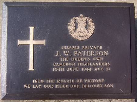 4986228 Private J. W. Paterson, 1st battalion Queens Own Cameron Highlanders, 10th June 1944, age 21