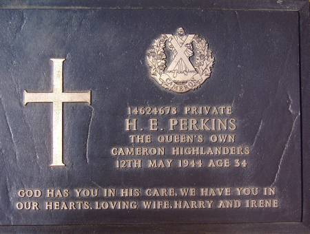 14624678 Private H. E. Perkins, 1st battalion Queens Own Cameron Highlanders, 12th May 1944, age 34