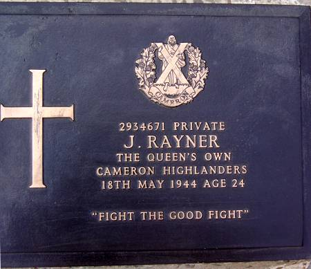 2934671 Private J. Rayner, 1st battalion Queens Own Cameron Highlanders, 18th May 1944, age 24