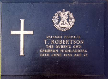 3245880 Private T. Robertson, 1st battalion Queens Own Cameron Highlanders, 10th June 1944, age 25