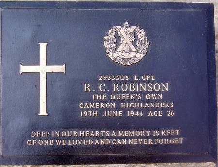2933308 Lance-Corporal R. C. Robinson, 1st battalion Queens Own Cameron Highlanders, 19th June 1944, age 26