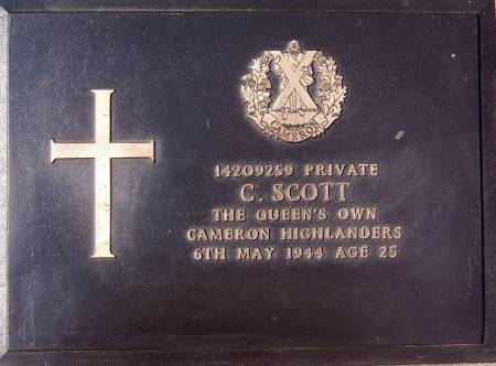 14209259 Private C. Scott, 1st battalion Queens Own Cameron Highlanders, 6th May 1944, age 25