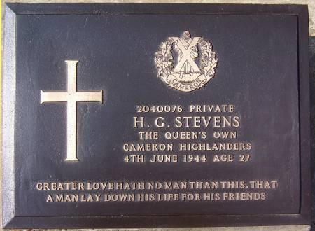 H. G. Stevens, 1st battalion Queens Own Cameron Highlanders