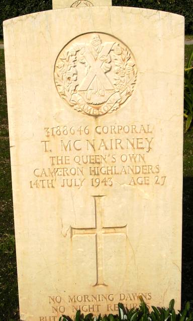 Headstone of 3188646 Corporal T. McNairney. Queens Own Cameron Highlanders