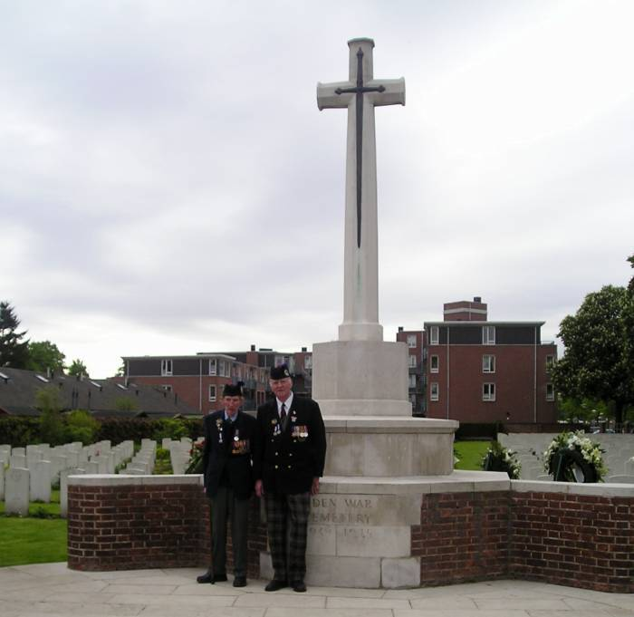 George Sands and Richard Massey at Entrance and memorial Uden War Cemetery