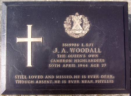 J. A. Woodall, 1st battalion Queens Own Cameron Highlanders