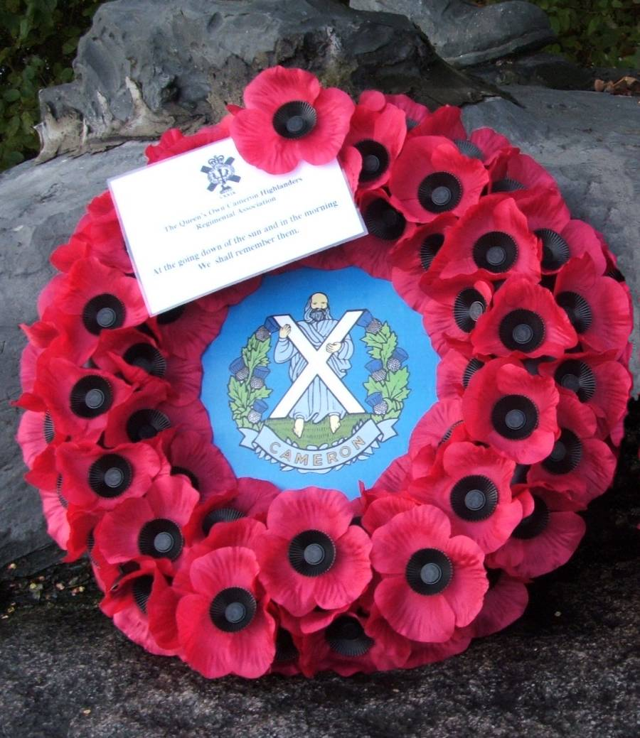 Queens Own Cameron Highlanders regimental association wreath, laid by the Veterans at the Schijndel Highland division memorial.