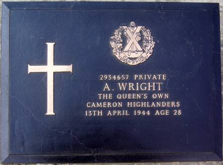 2934657 Private A. Wright, 1st battalion Queens Own Cameron Highlanders, 13th April 1944, age 28