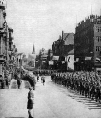 51st Highland Division march past at Victory parade, Bremerhaven 1945