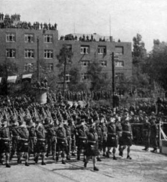 51st highland Division at Victory parade, Bremerhaven 1945