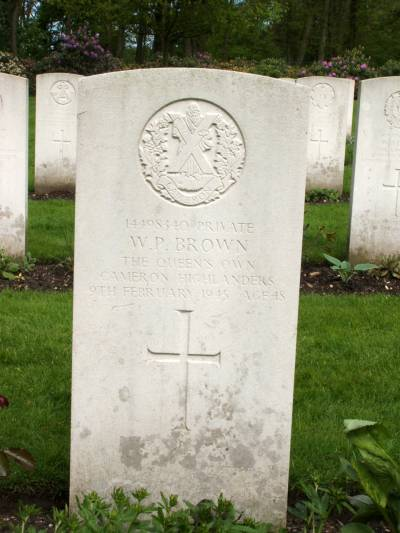 Headstone of Private W.P. Brown