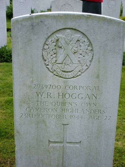 Headstone of Corporal W.R. Hoggan