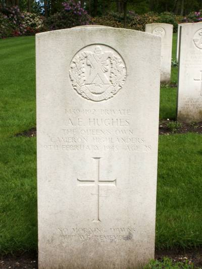 Headstone of Private A.E. Hughes