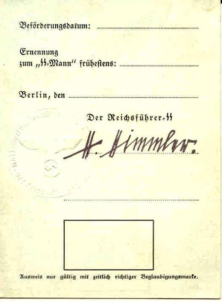 German Pass with the signature of Heinrich Himmler